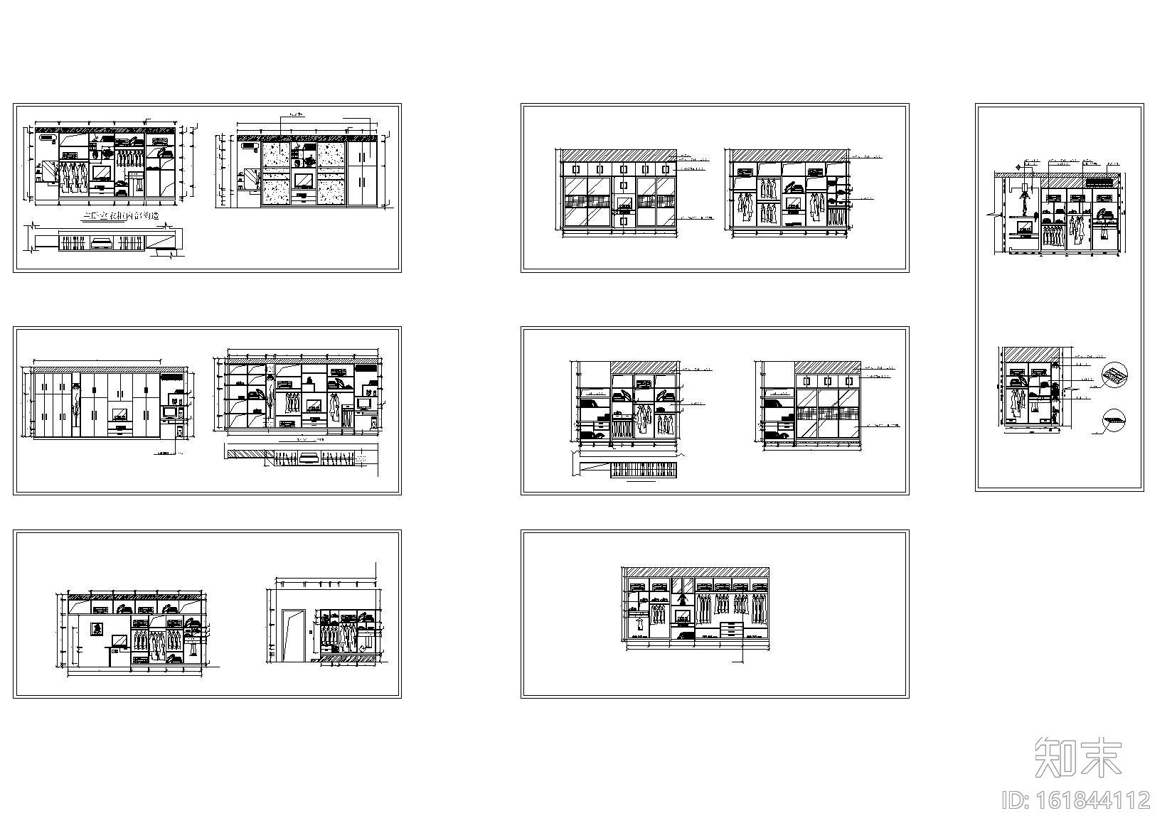 500款-综合衣柜图例图块图集施工图下载【ID:161844112】