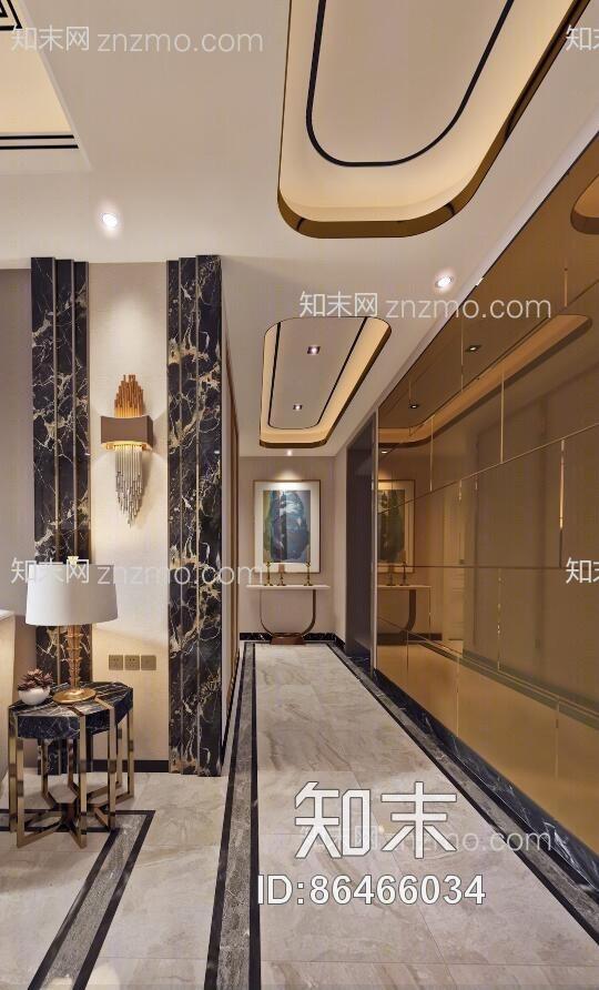 新古典客厅餐厅 吊灯 台灯 装饰柜 单双人沙发 茶几 挂画 壁灯 餐桌椅 摆件 玄关