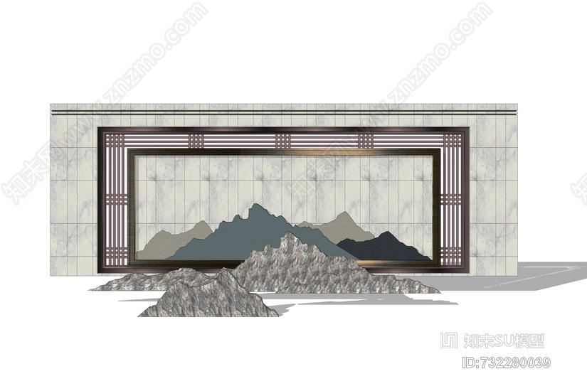 新中式山形景墙SU模型