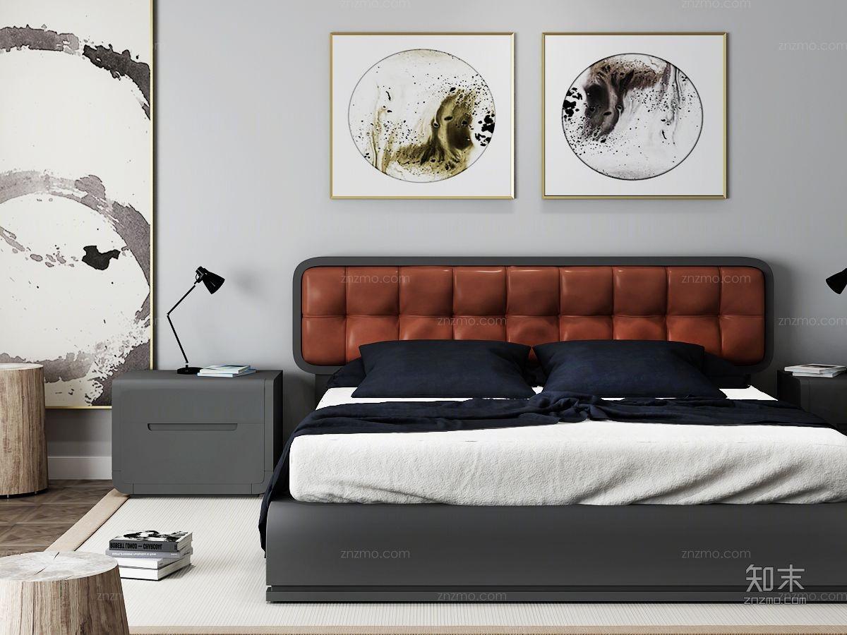 新中式卧室组合 双人床 床头柜 挂画