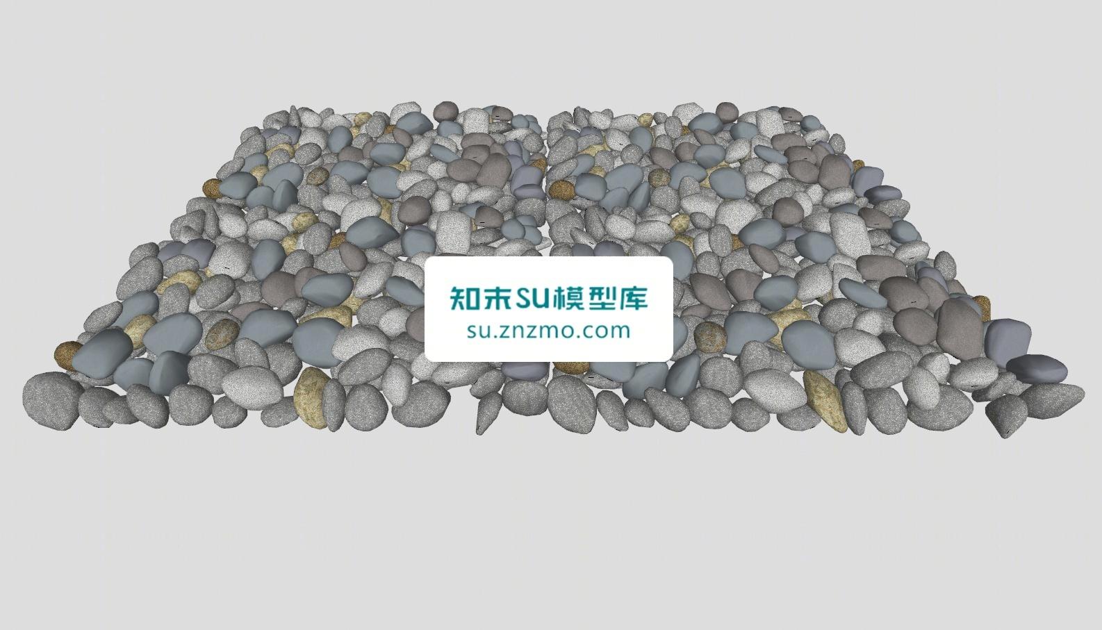 鹅卵石石子路sketchup模型SU模型下载【ID:148480275】