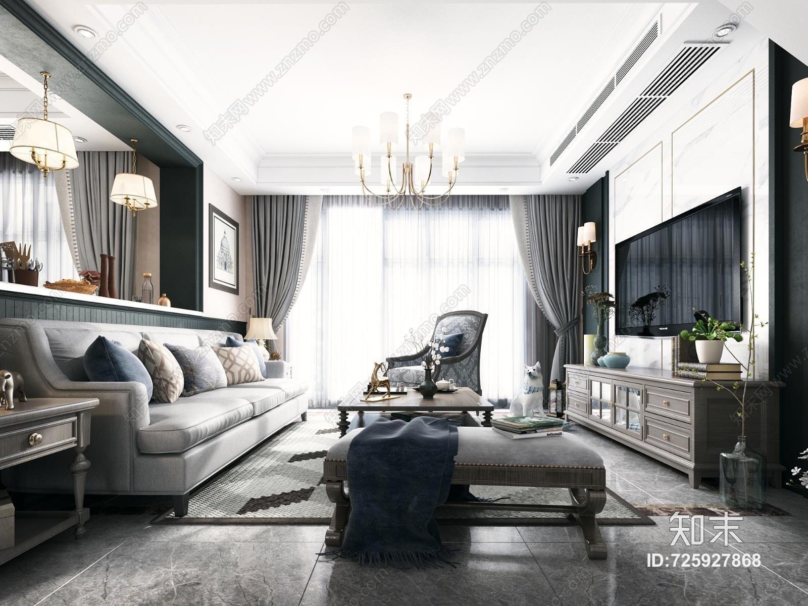 美式客厅 餐厅 酒柜 组合沙发 楼梯 电视柜 厨房 吊灯 餐桌椅