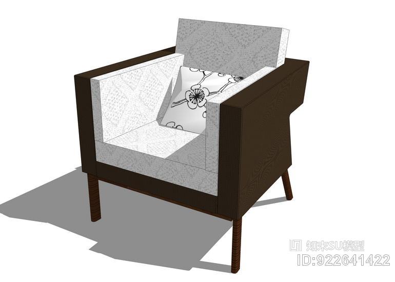 新中式单人椅子SU模型