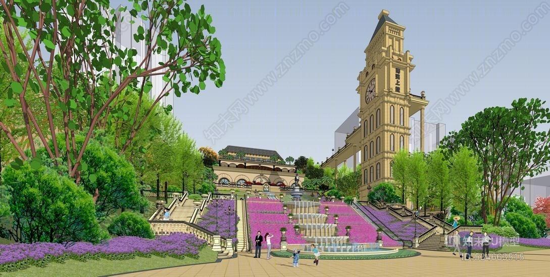 法式山地风格售楼部示范区景观SU模型