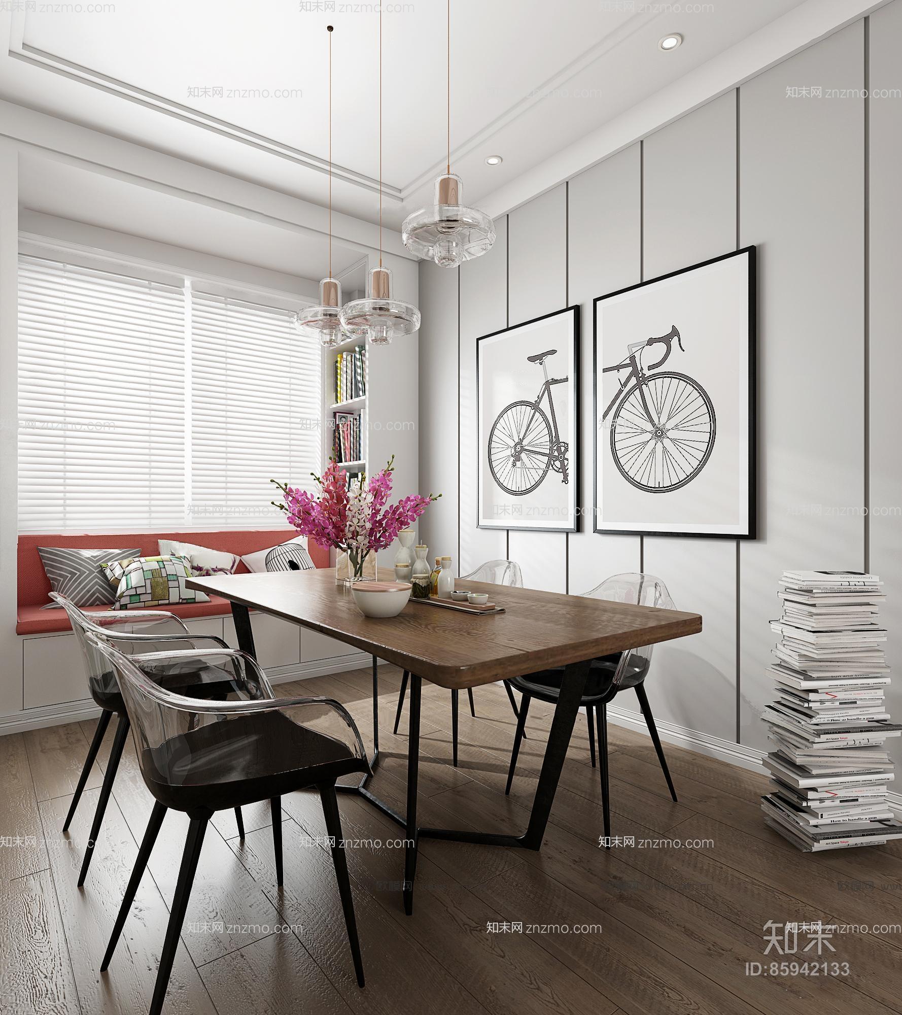 现代北欧客厅餐厅 沙发茶几 餐桌椅 吊灯 休闲椅 挂画 装饰墙 飘窗