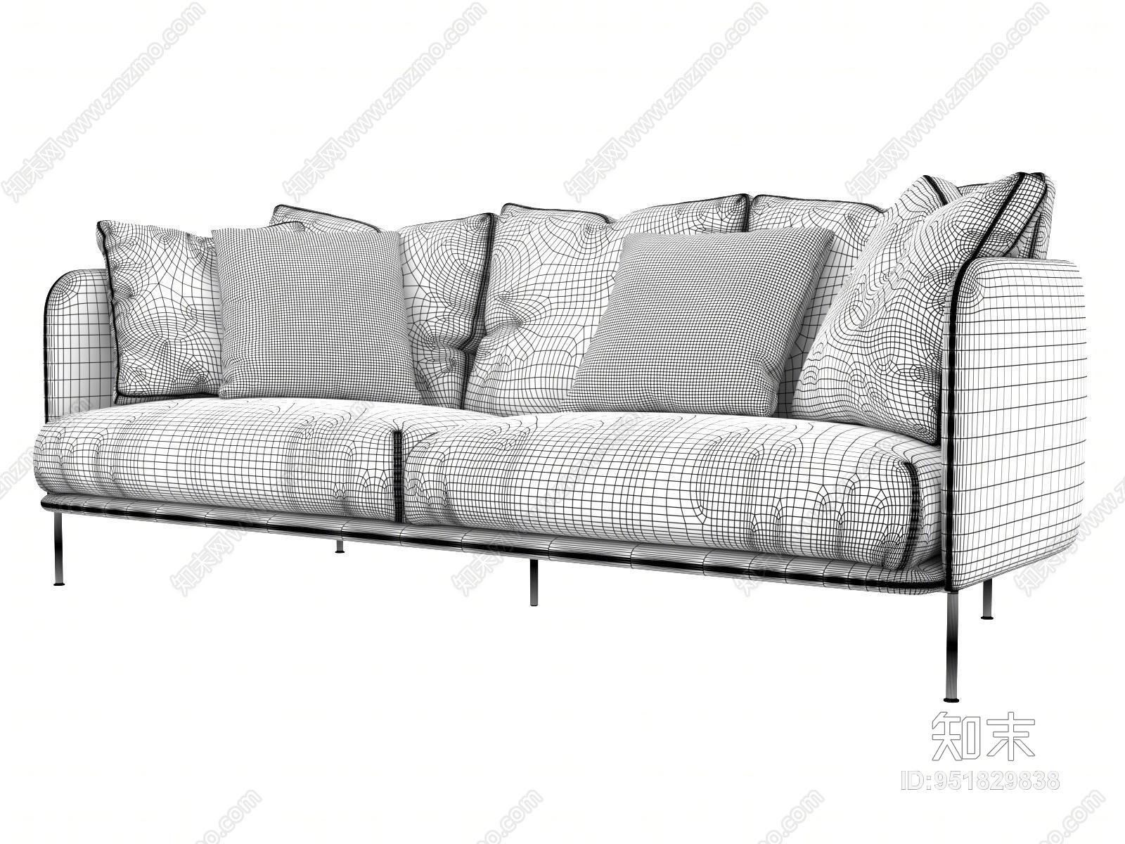 北欧多人布艺沙发3D模型下载【ID:951829838】
