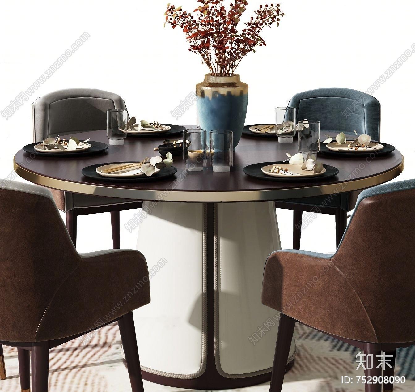 中式金属餐桌椅3d模型