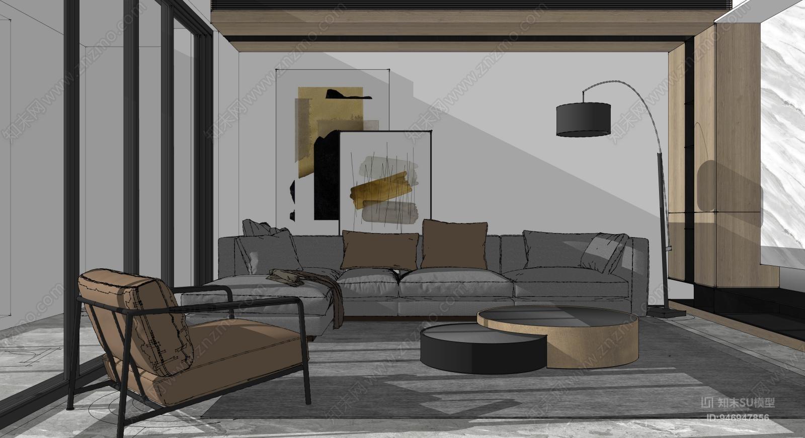 现代风格客厅 沙发组合 休闲椅 单人沙发 吧台椅组合 落地灯
