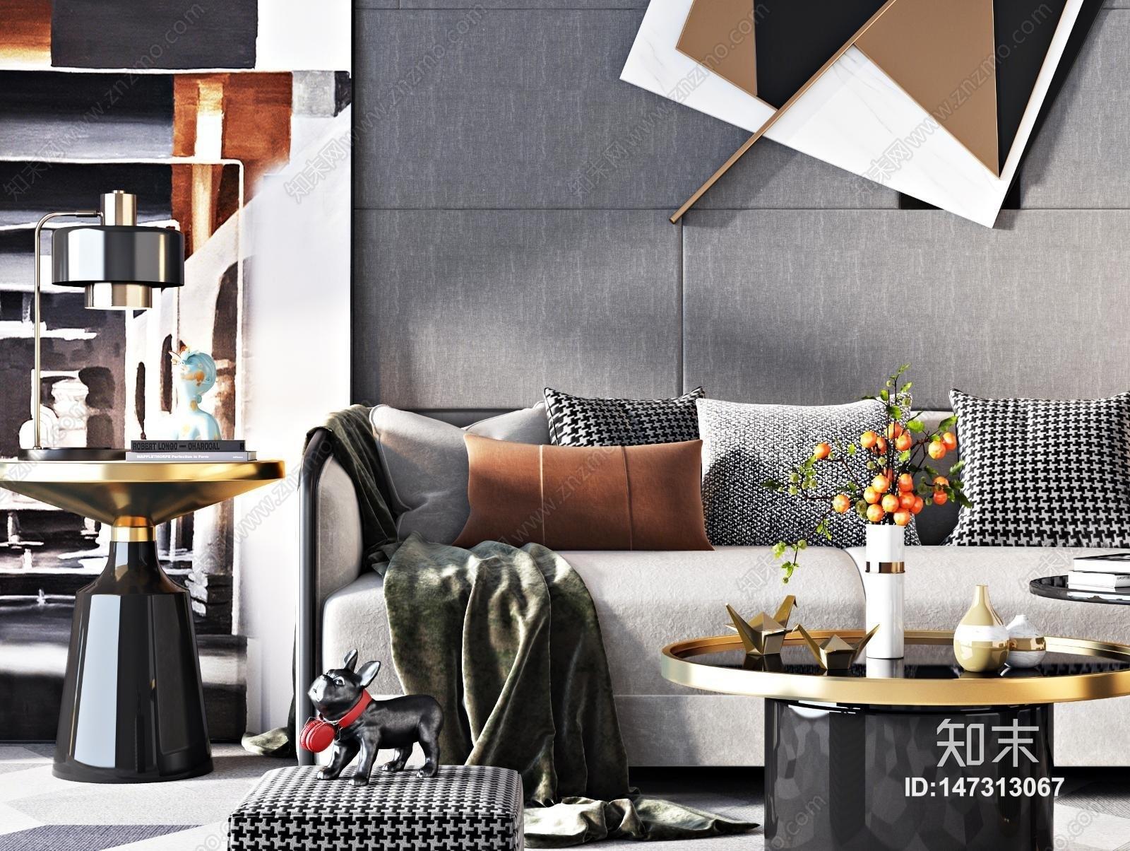 现代沙发茶几组合3D模型下载【ID:147313067】