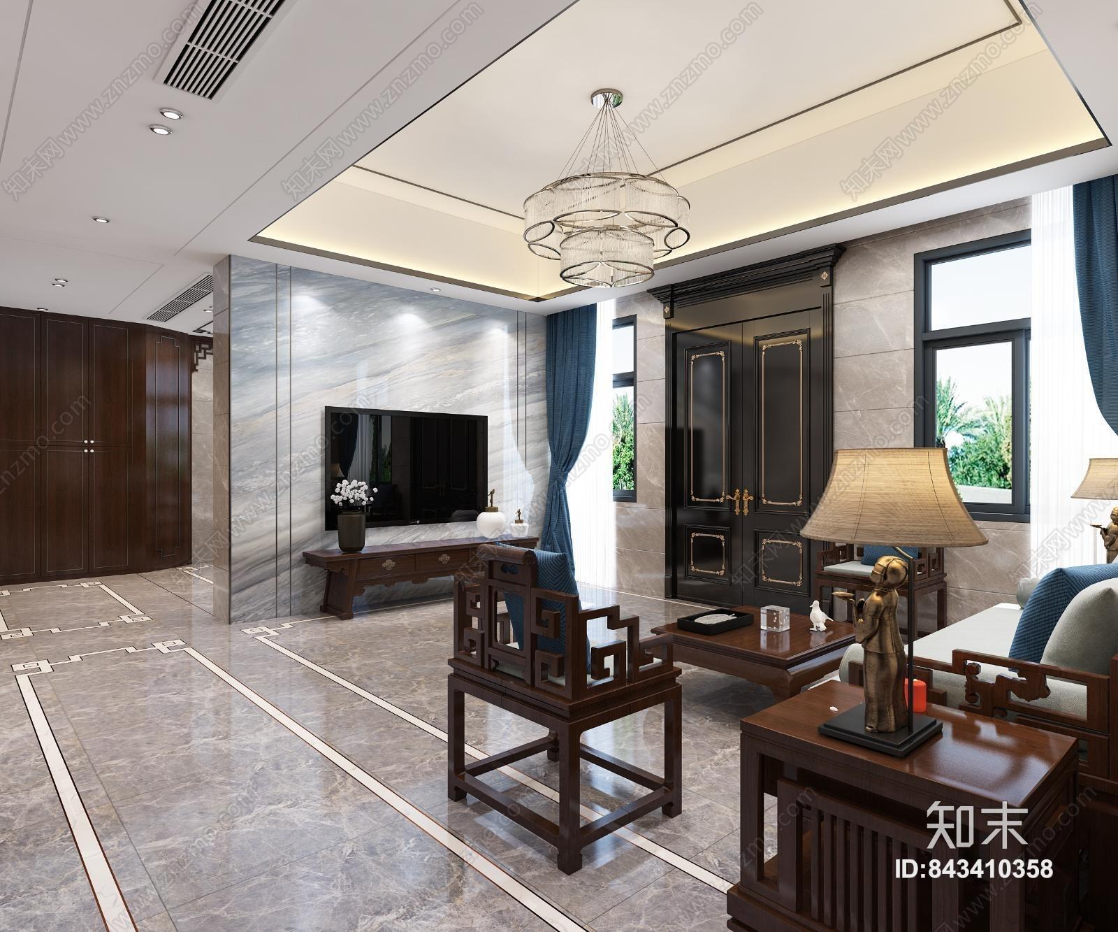 中式客厅 餐厅