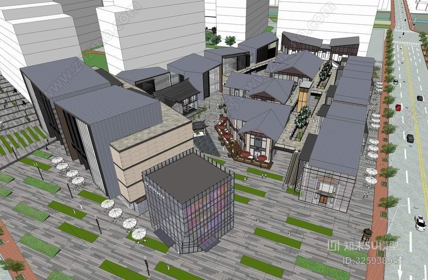 松江新城商业街SU模型