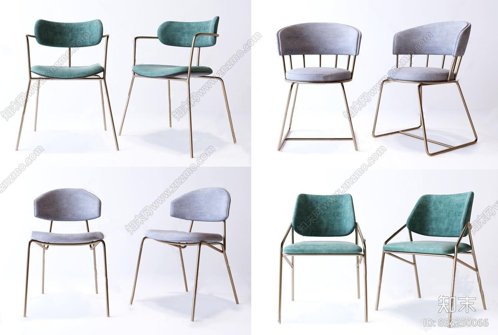 现代轻奢单椅组合3D模型下载【ID:854250066】