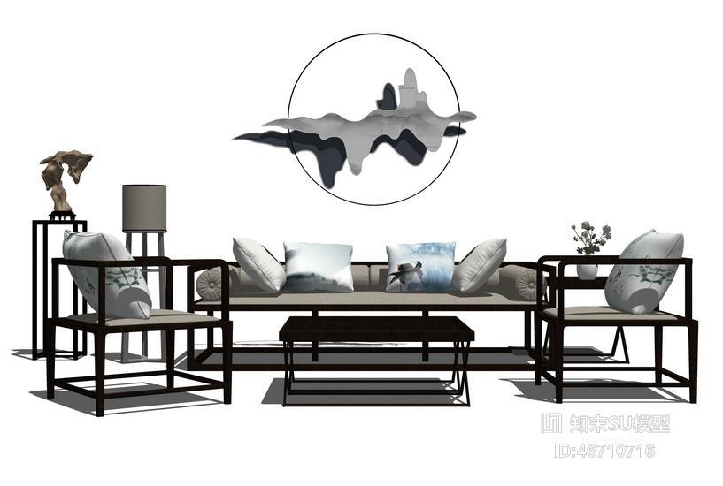新中式客厅沙发茶几吊灯组合SU模型
