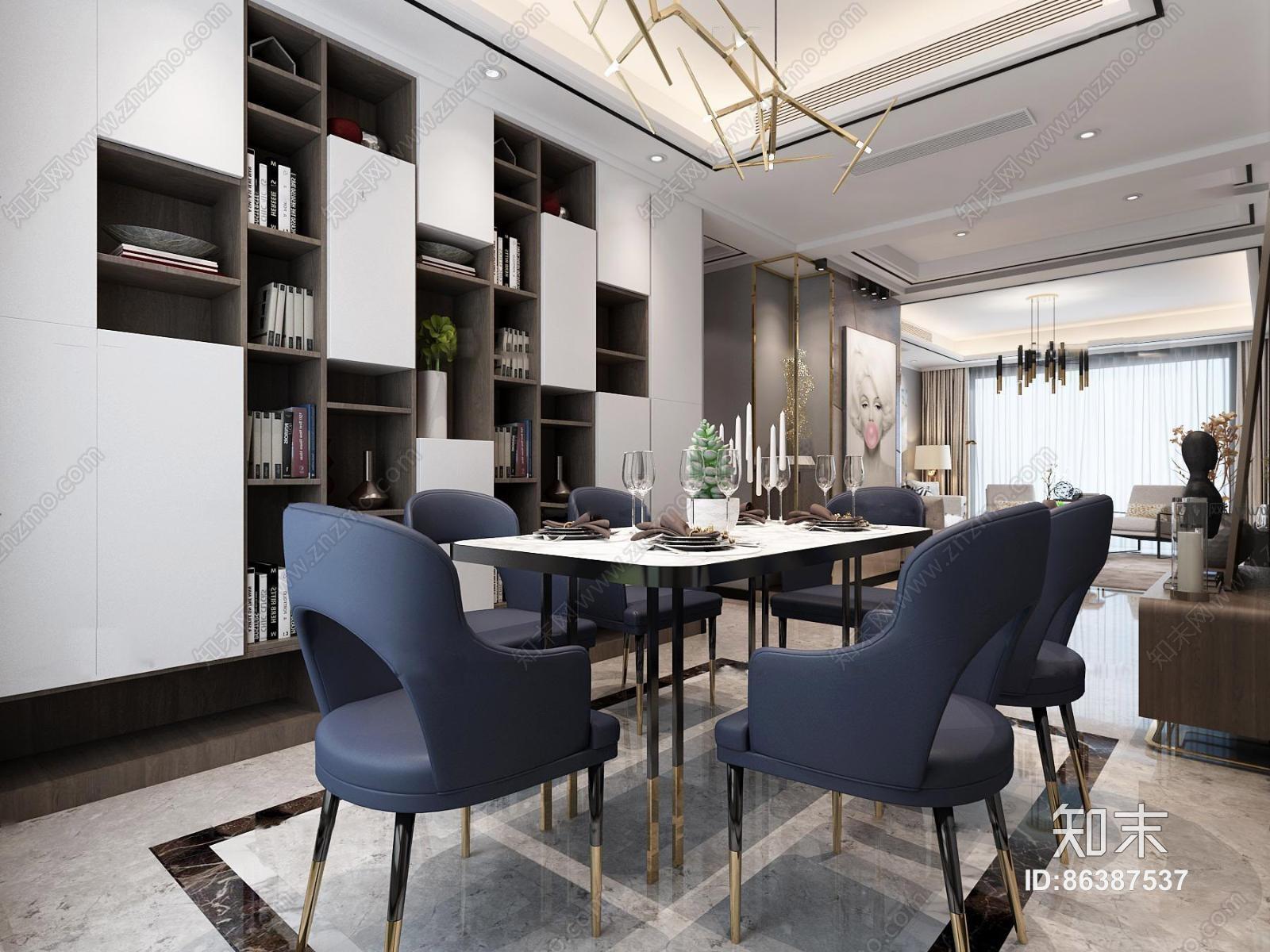 现代客厅餐厅玄关过道 吊灯 台灯 单双人沙发 茶几 挂画 置物架 陈设摆件 书架 玄关 餐桌椅