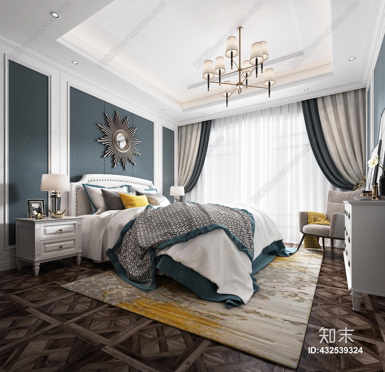 简欧欧式主人房 床 吊灯 台灯 床头柜 窗帘 地毯