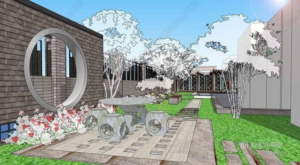 中式庭院景观SUSU模型