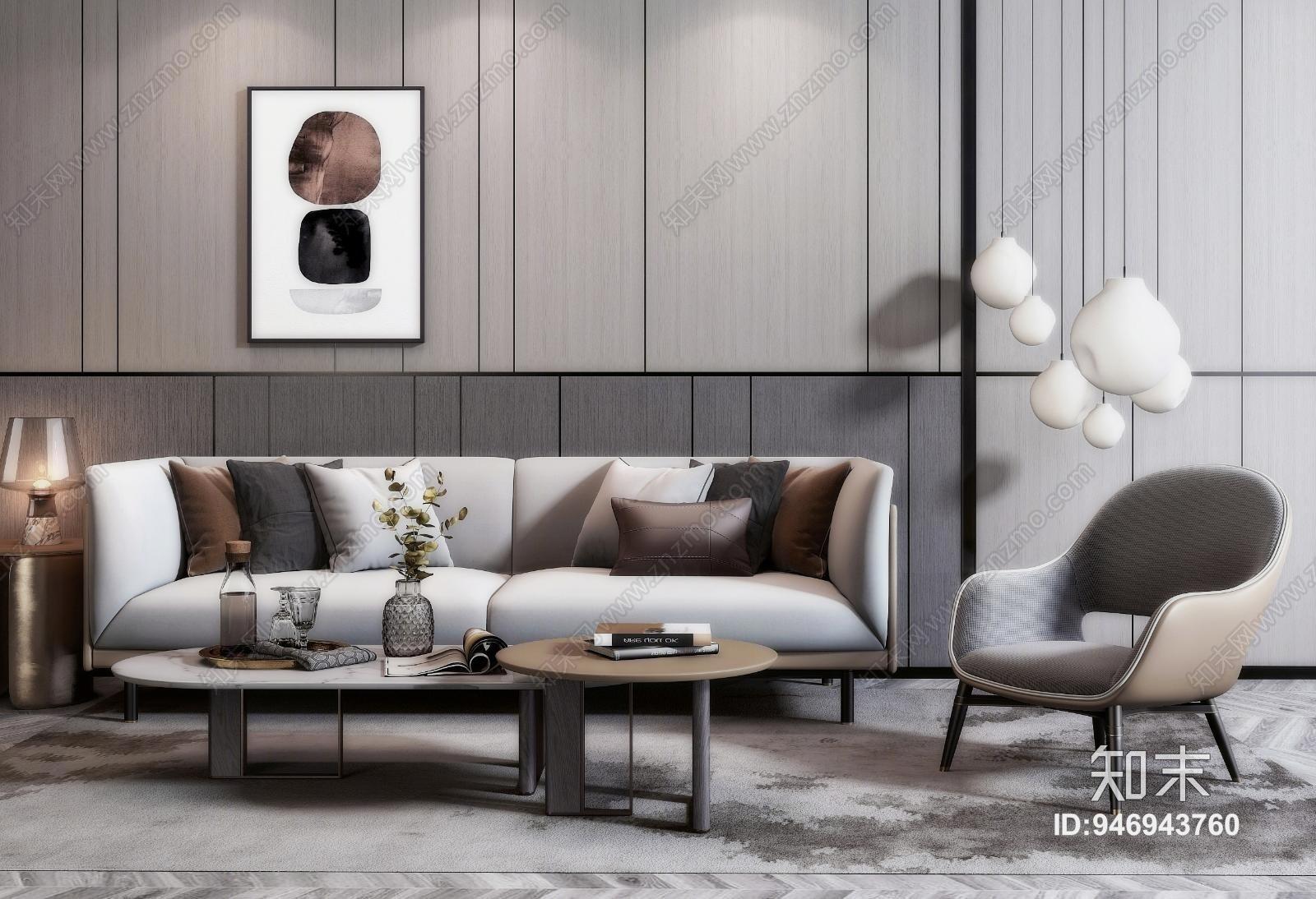 现代双人沙发 茶几 单椅 吊灯