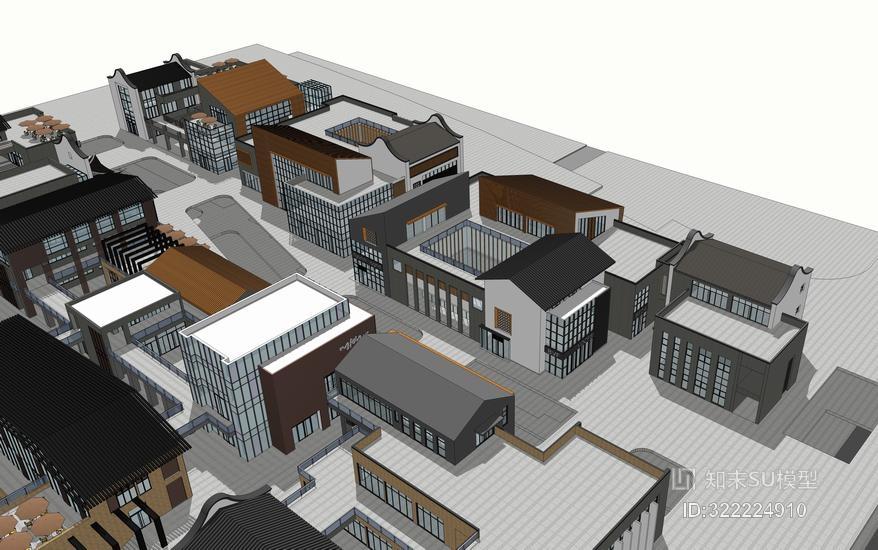 新中式商业街合集SU模型