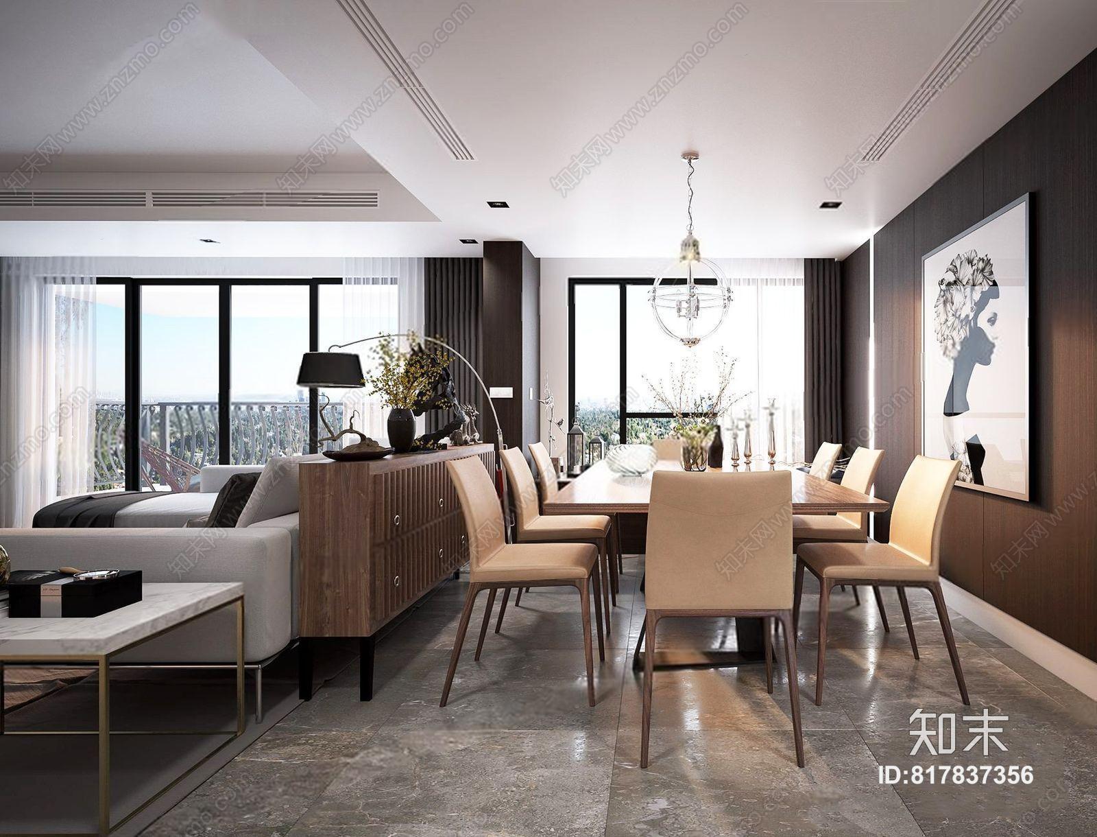 现代客餐厅 现代整体模型 多人沙发 茶几 边几 电视柜 餐桌椅 边柜 吊灯 绿植 挂画 饰品 摆件