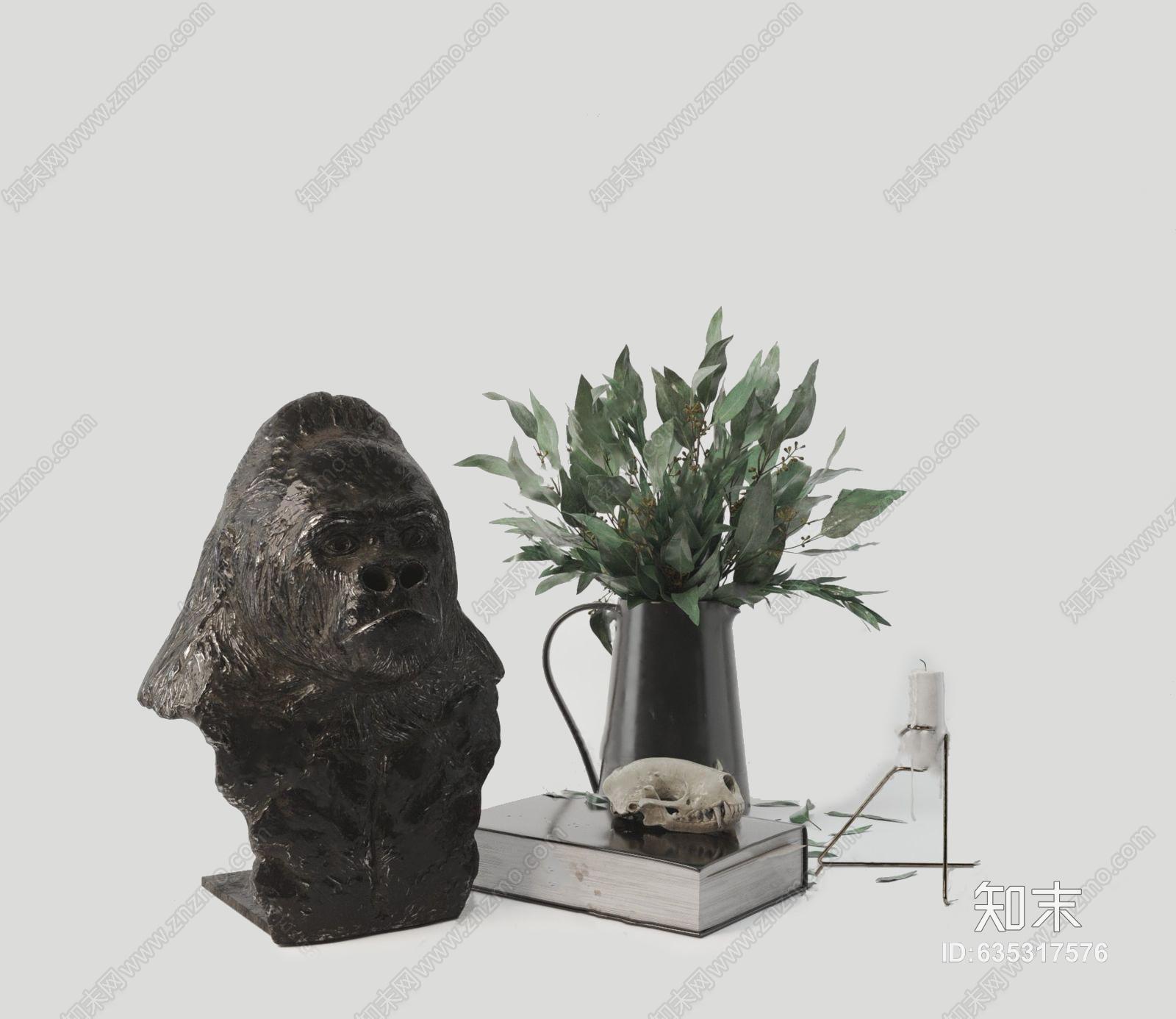 现代陈设品组合 现代饰品摆件 雕塑 书籍 花瓶 蜡烛 摆件