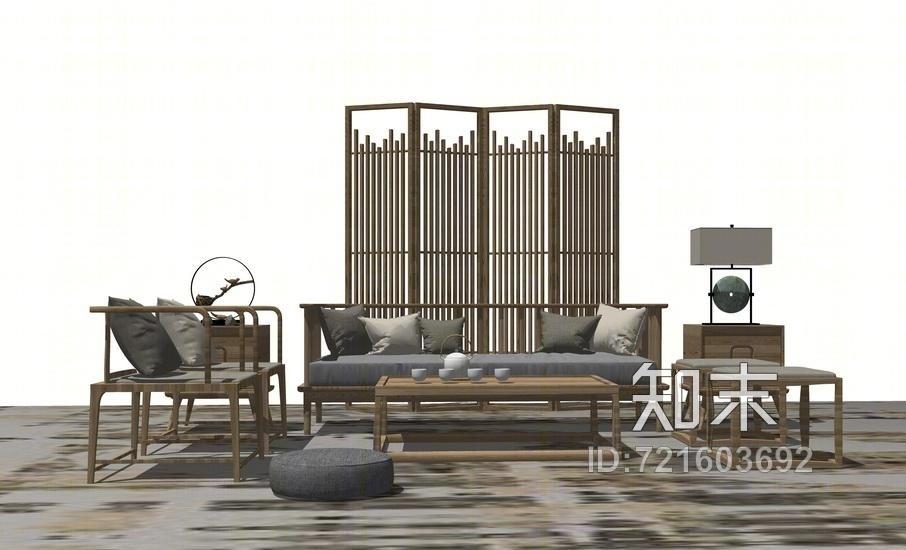 中式客厅沙发茶几屏风隔断组合SU模型