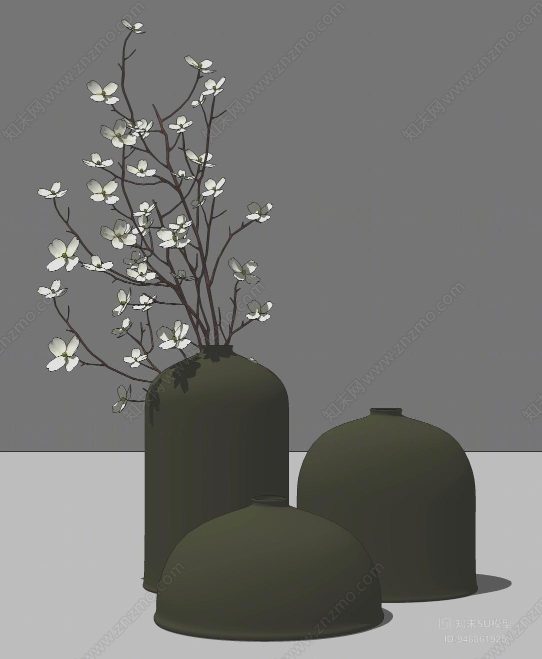 新中式风格花瓶SU模型下载【ID:948861925】