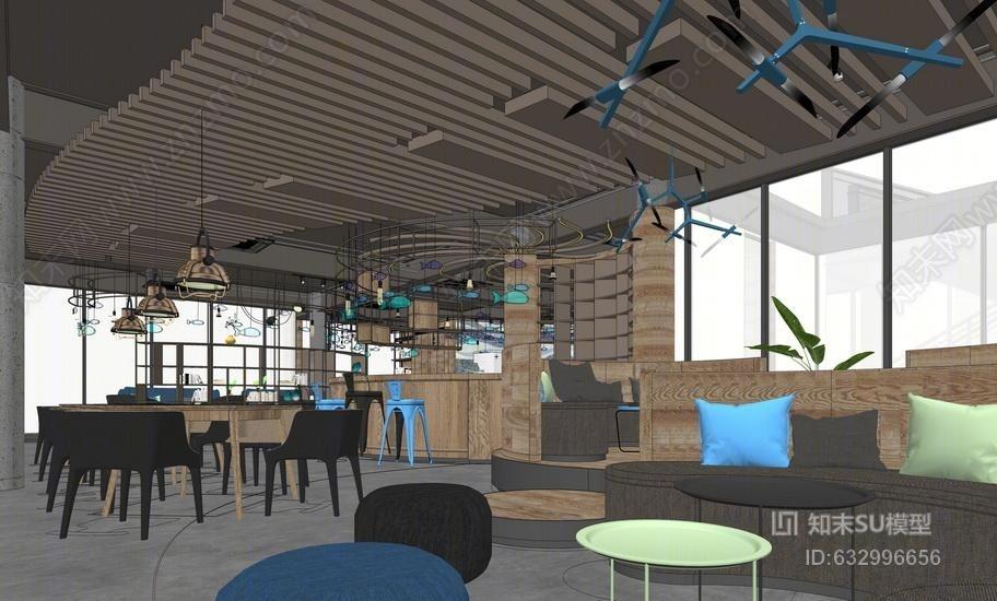 现代咖啡厅室内设计SU模型