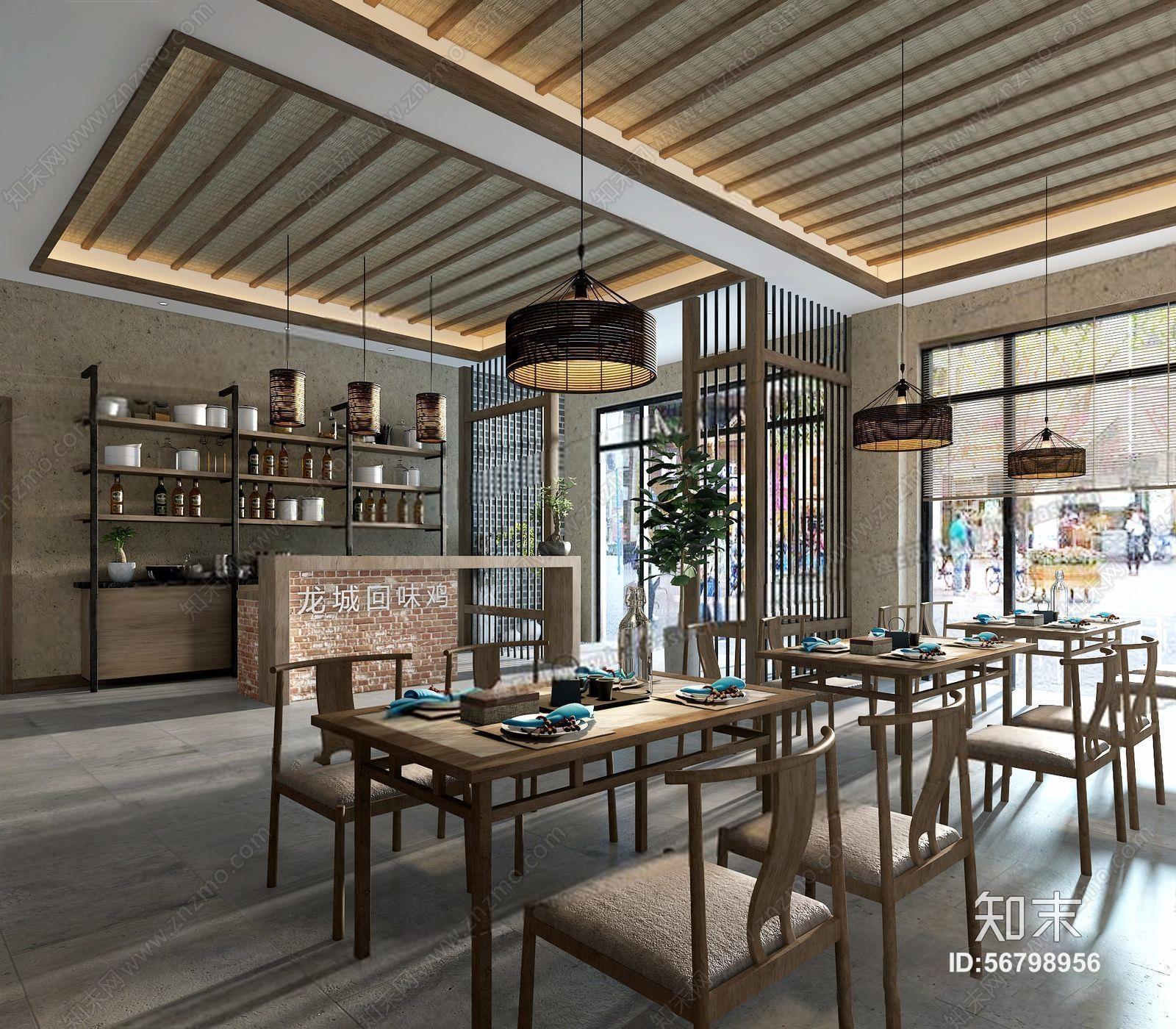 新中式餐饮大厅 新中式餐饮空间 收银台 吧台 明档 餐桌椅 隔断 酒架