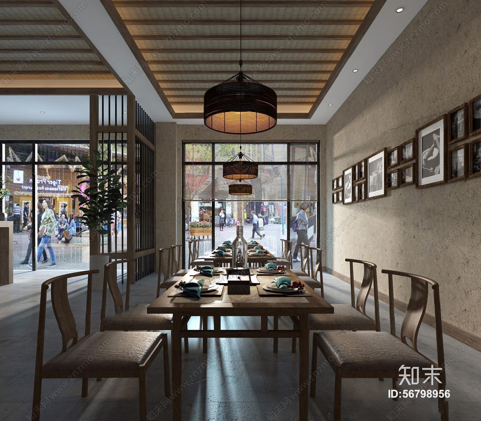 新中式餐饮大厅 新中式餐饮空间 收银台 吧台 明档 餐桌椅 隔断 酒架图片