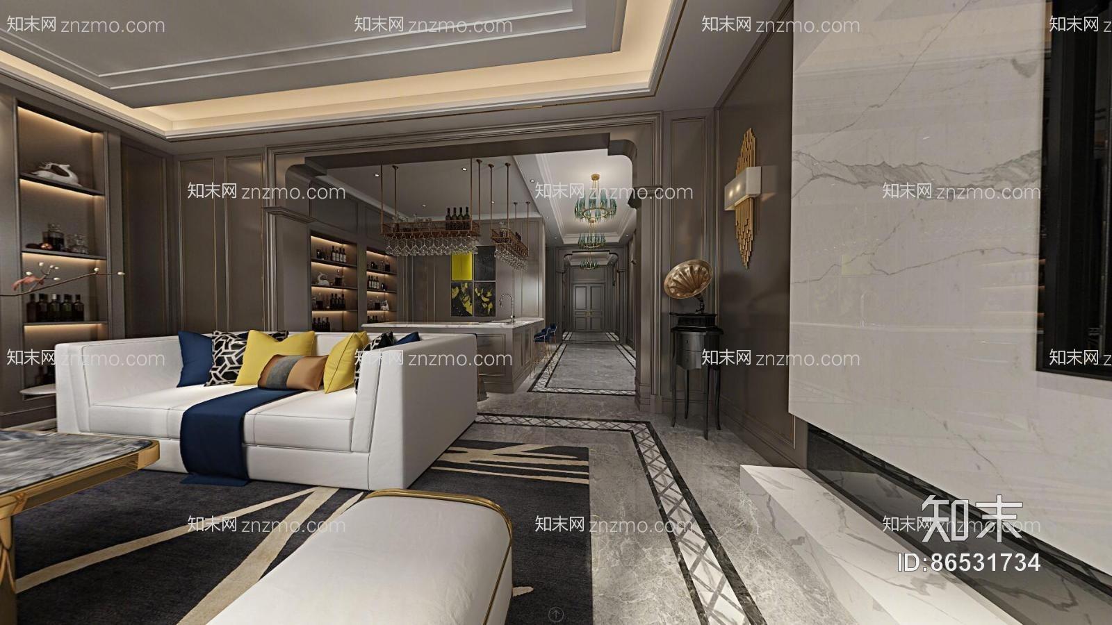 新古典客厅餐厅 吊灯 台灯 单双人沙发 茶几 吧台 高脚凳 摆件