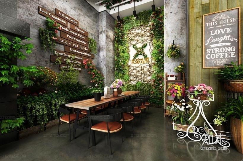 咖啡厅/植物墙3D模型下载【ID:32873867】