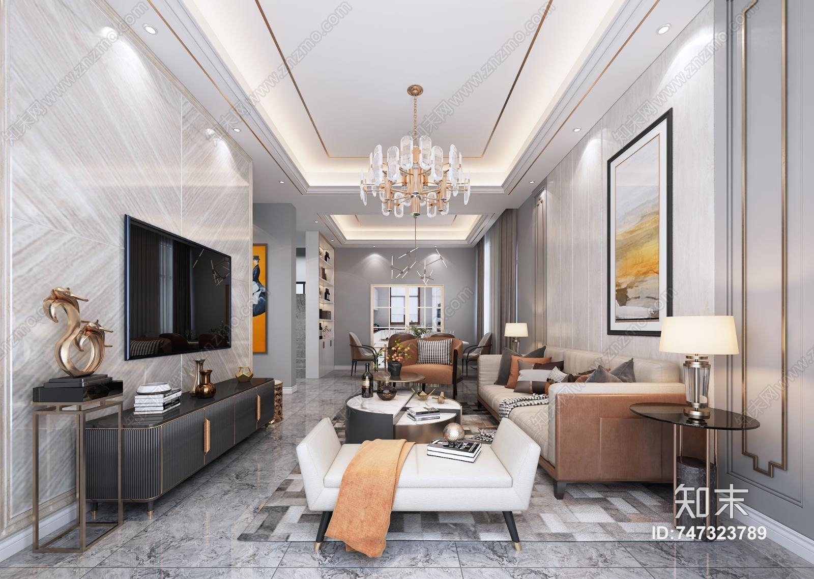 现代轻奢客厅 沙发茶几 电视柜 吊灯 窗帘 挂画 地毯