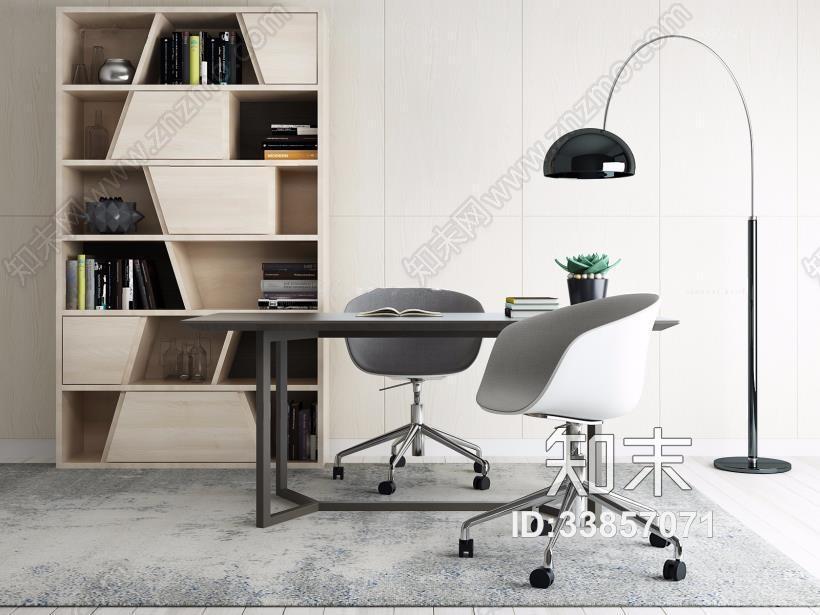 北欧书房 北欧书房 书桌椅 落地灯 书柜