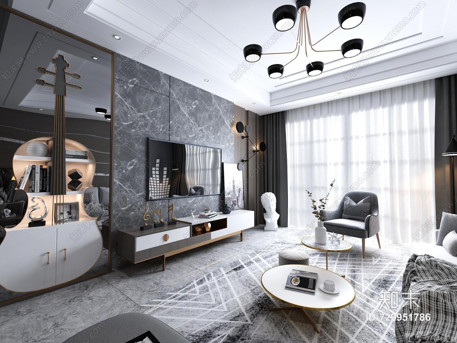 现代轻奢客厅 沙发茶几 电视柜 单椅 装饰柜 吊灯 装饰画