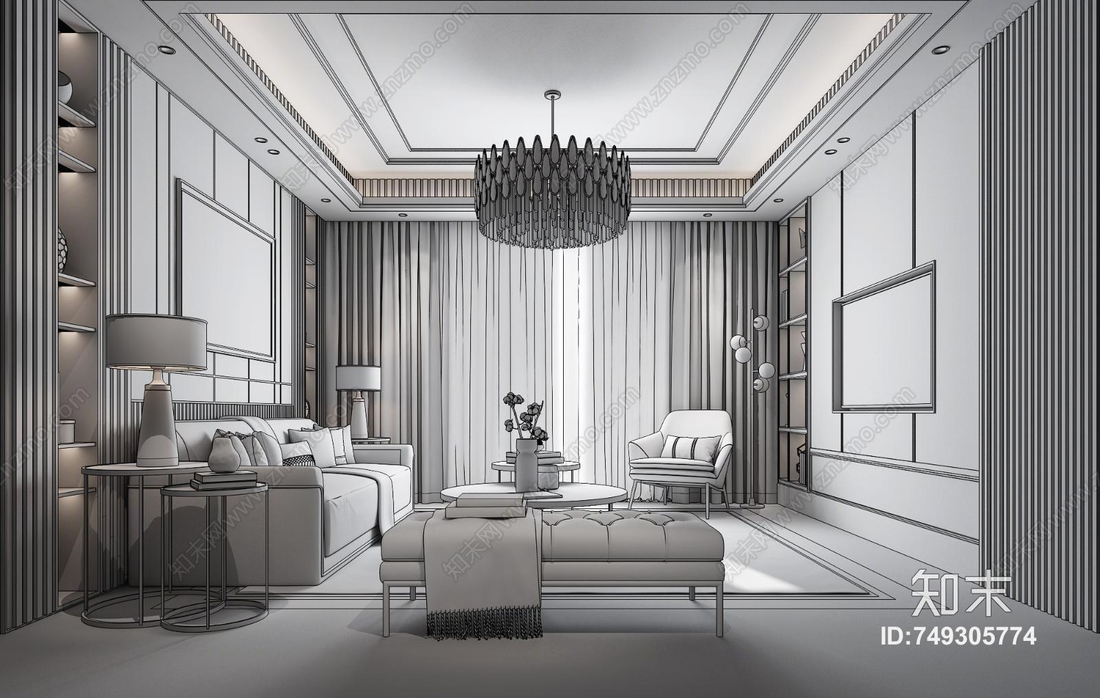 现代客厅3D模型下载【ID:749305774】
