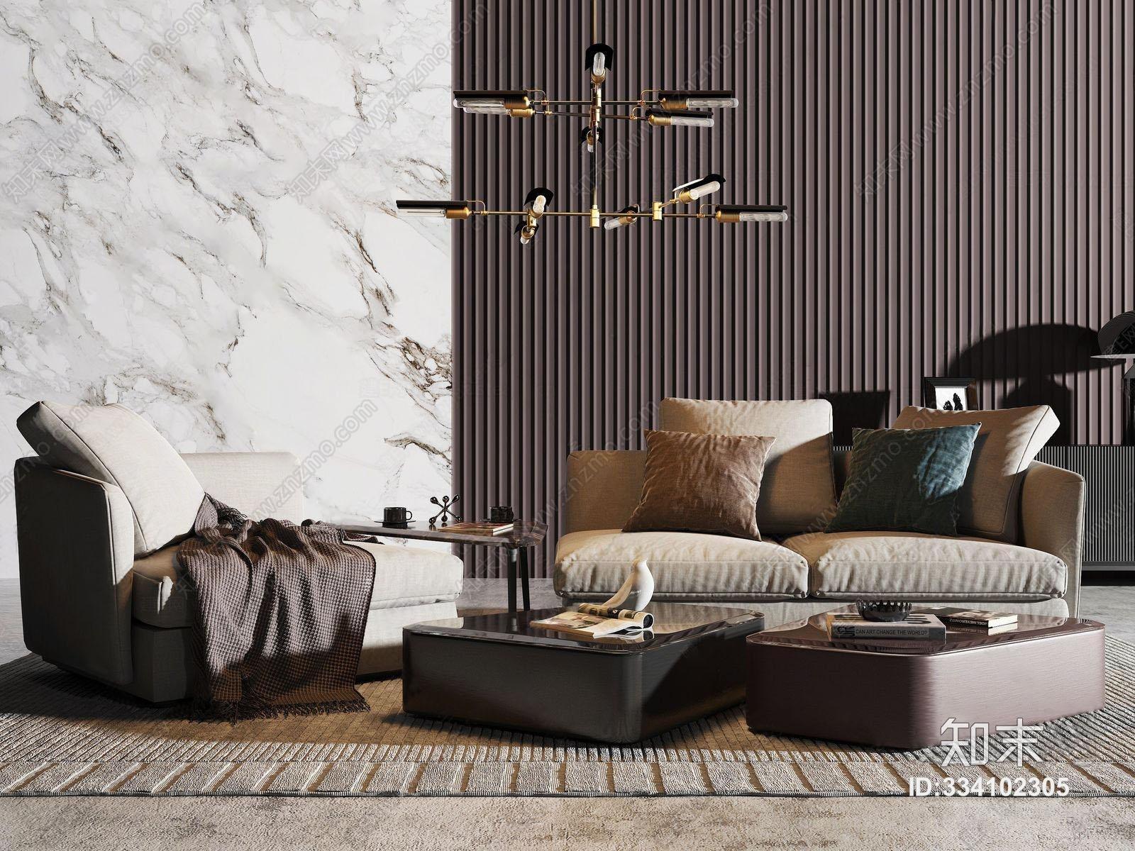 现代沙发茶几吊灯组合 单人沙发