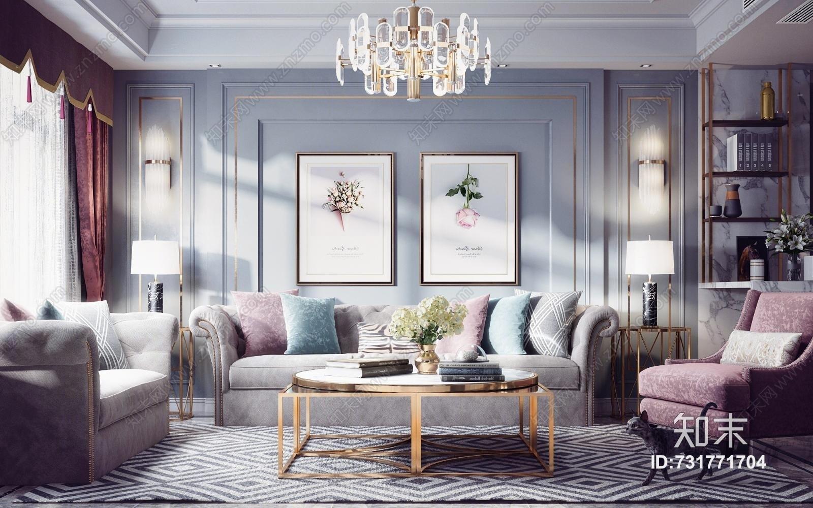 现代轻奢客厅餐厅 沙发组合 灯具 餐桌椅 挂画 茶几 装饰品 窗帘