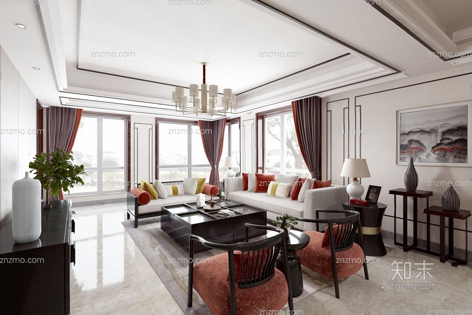 新中式客厅 沙发茶几 电视柜 角几 台灯 吊灯