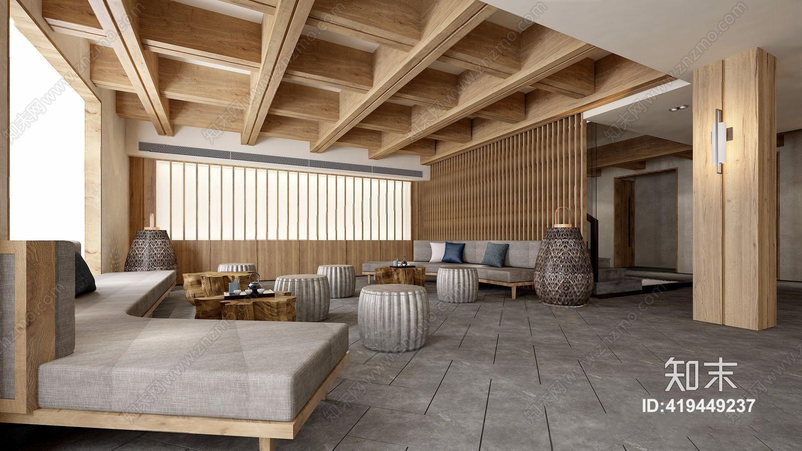 新中式大堂 弧形沙发 多人沙发 茶几 接待台 吧台 吧凳 台灯3d模型图片