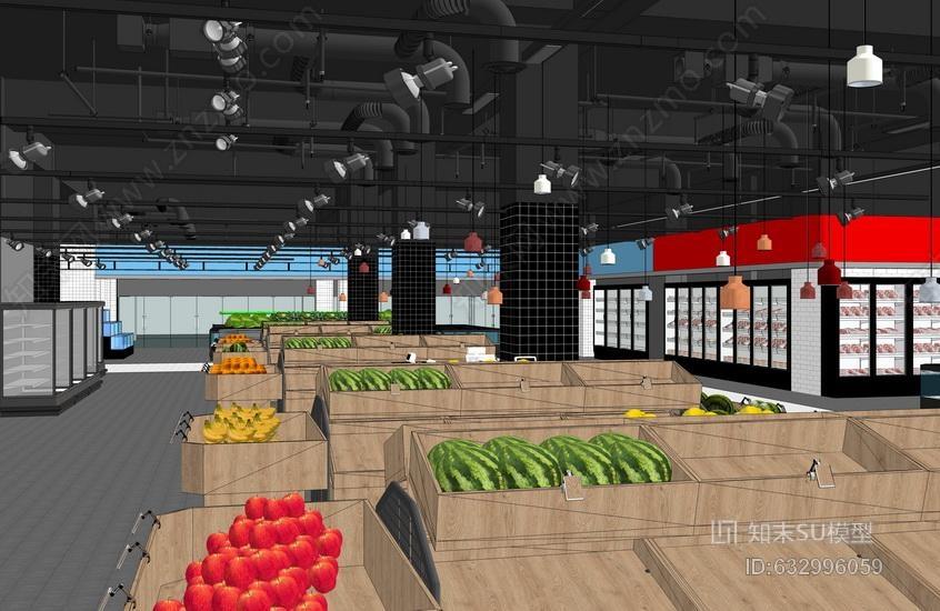 超市室内设计SU模型