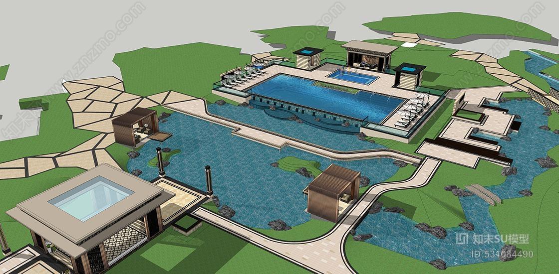 新亚洲新中式小区景观SU模型