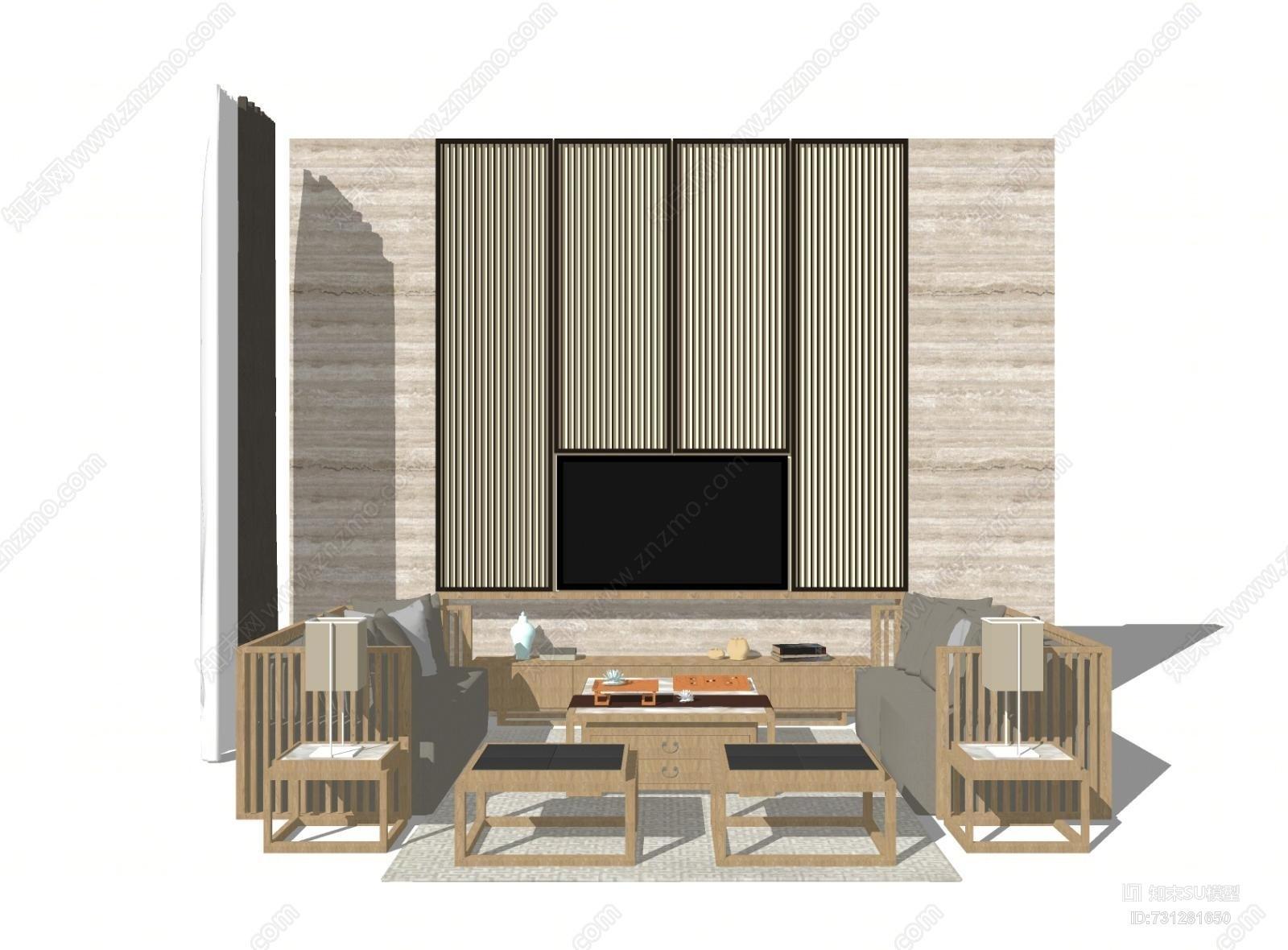 新中式客厅沙发茶几 装饰画 背景 组合SU模型家具