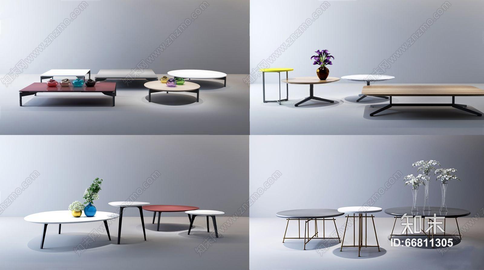 意大利 NATUZZI 现代茶几组合 现代茶几 边几 桌几 花艺 兰花 玻璃器皿 意大利 NATUZZL