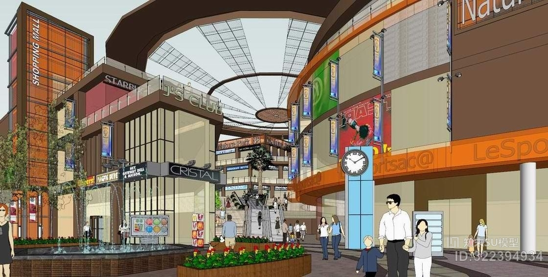 现代商业街SU模型