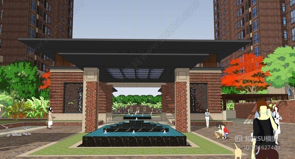 英式区入口中庭景观SU模型