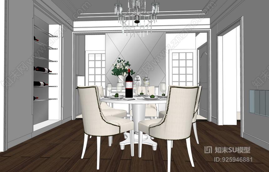 美式客厅餐厅室内设计SU模型