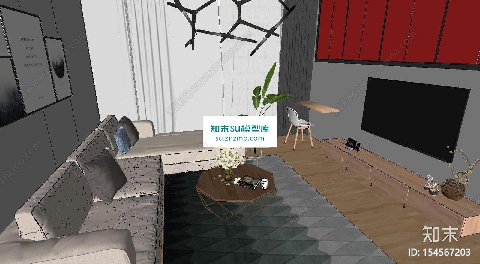 北欧宜家客厅沙发茶几SU模型下载【ID:154567203】
