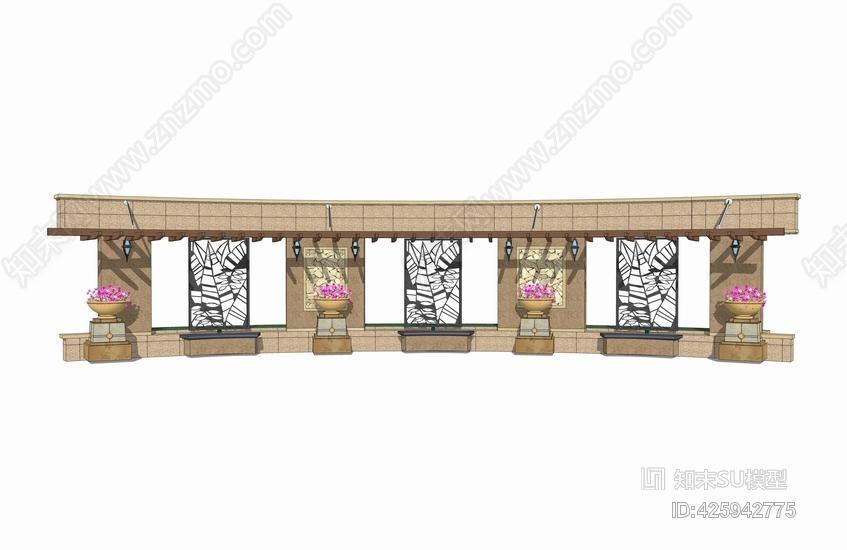 镂空铁艺弧形廊架SU模型