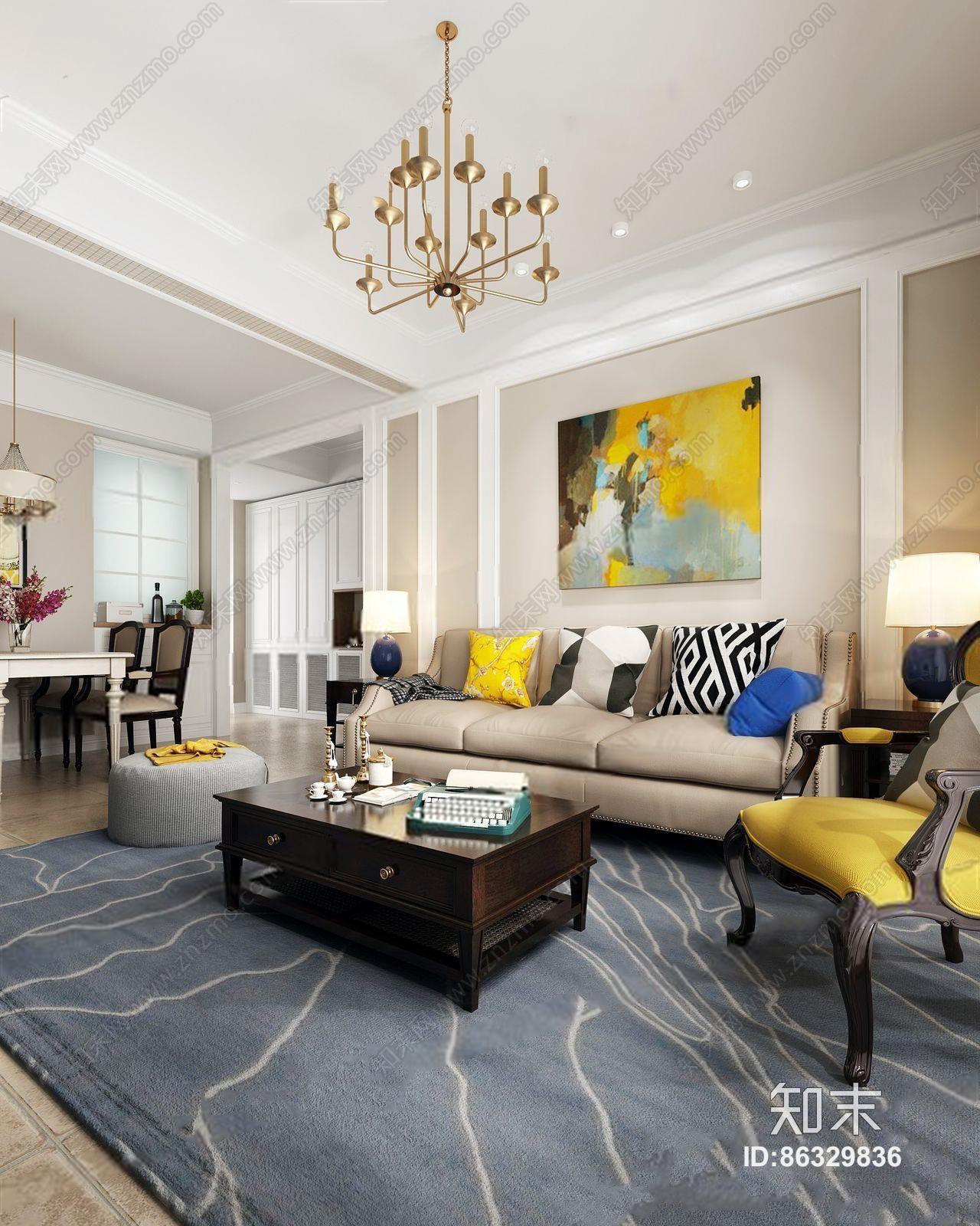 美式客餐厅 美式整体模型 多人沙发 茶几 边几 餐桌椅 吊灯 台灯 挂画 坐垫 休闲椅 椅子 地毯 摆件