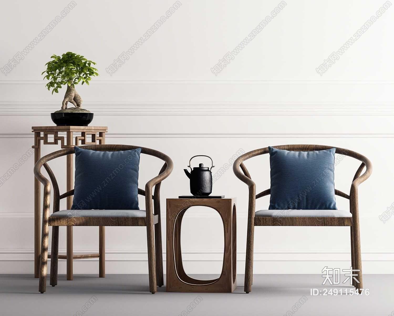 新中式椅子3D模型下载【ID:249115476】